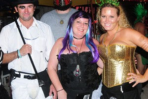 Schooner Wharf crew at their annual Schooner Wharf Walk On Costume Competition, Pollux Dietz, Cory Grandy, Melissa Williams and Lenzie Purcell