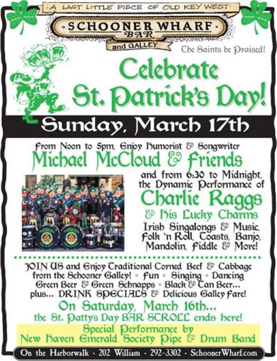 St Patrick's Day at the Schooner Wharf Bar 2019 Flyer
