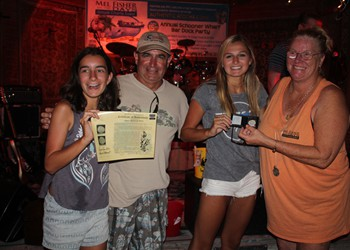Lindsay Lewis (3rd from left) won the Atocha Coin & got congrats from Stevie, Dave & Taffi.